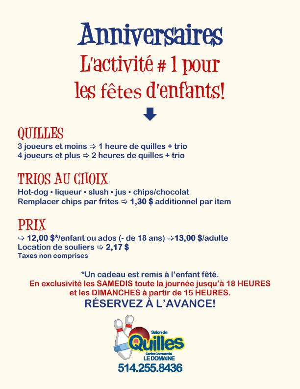 Anniversaires d'enfants Quilles Domaine Montréal