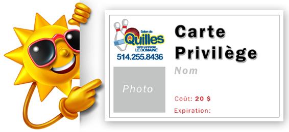 Carte de membre Quilles Domaine